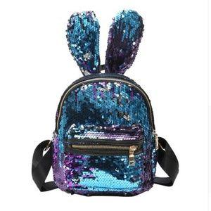 Handbags - Blue Reversible Sequin Bunny Ear Mini Backpack